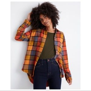 $88 MADEWELL Flannel Sunday Shirt in Emmy Plaid S